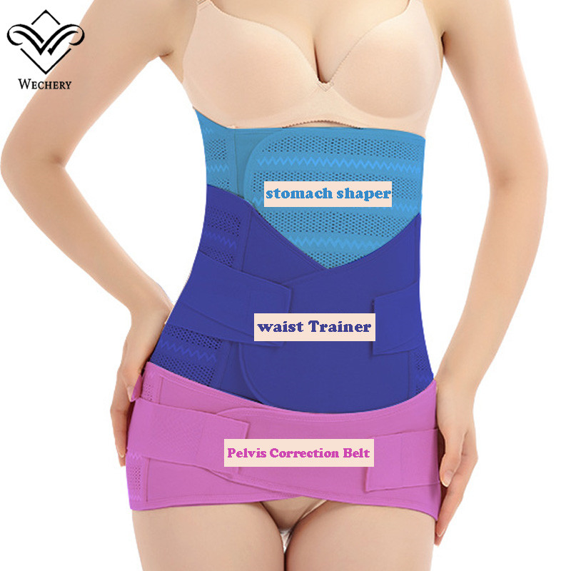 Wechery Three Pieces Body Shaper Slimming Straps Waist Cinchers Stomach belt Pelvis Strap women Shaper udnerwear for Pregnant