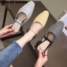 купить 2019 New Summer Women Mules Close Toe Slippers Flat Heel Slides Slip On Casual Shoes Fashion Cane Slipper Female Flip Flops Shoe по цене 1443.99 рублей