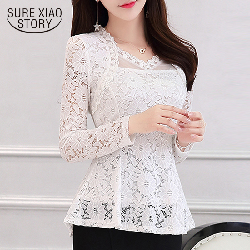 2018 New Arrival Fashion Spring Long Sleeve Women Lace Blouse SHIRT Female Hollow  Plus Size V-neck Solid Elegant Blouse 810i 30