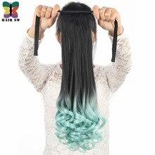 Волос SW длинные волнистые Высокая Температура sythetic связать хвост клип в Наращивание волос Ombre цвет выделения с мятой/красный /синий/розовый