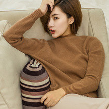 цена на Women winter Top quality lady needle 100% cashmere turtleneck sweater shirt thick sweater keep warm wool loose sweater coat