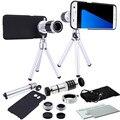 9 unidades de la cámara foto kit de lentes objetivo 12x teleobjetivo + 3 awesome + estuche + trípode para samsung galaxy note 5/note 4/s6 s7 borde más