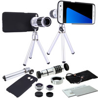DEALS 9 Piece Camera Photo Kit 12x Objective Telephoto+3 Awesome Lenses+Case+Tripod For Samsung Galaxy S9 S8 S6 S7 Edge Plus