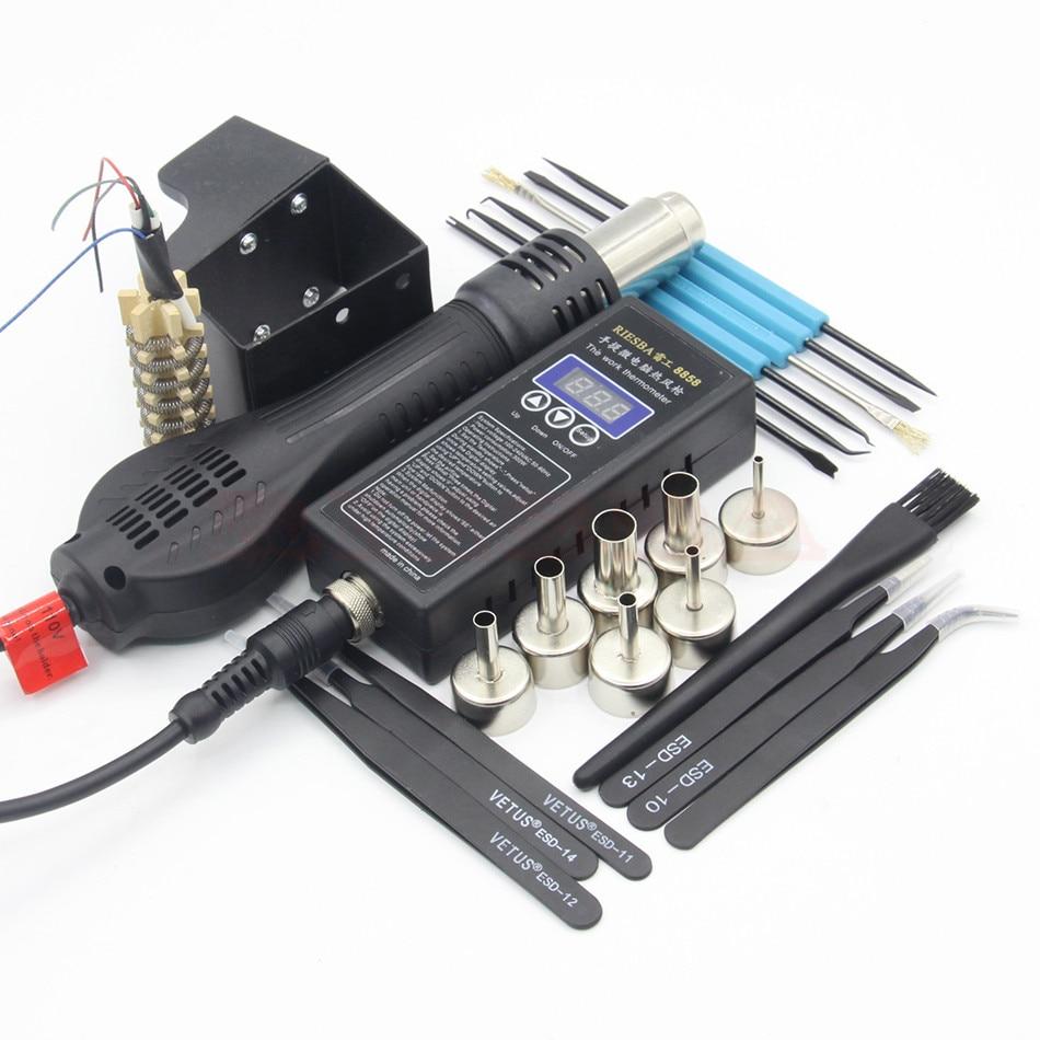 RIESBA 8858 Portable Solder Station Hot Air Blower Heat Gun Heating core air nozzle tweezers
