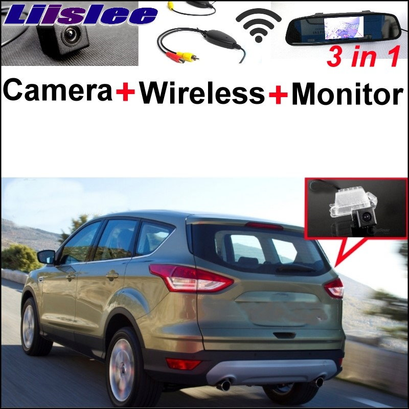 Liislee 3 in1 Wireless Receiver + Mirror Monitor  DIY Backup  Parking System For Ford Kuga 2012~2017 Special Rear View Camera new restaurant equipment wireless buzzer calling system 25pcs table bell with 4 waiter pager receiver