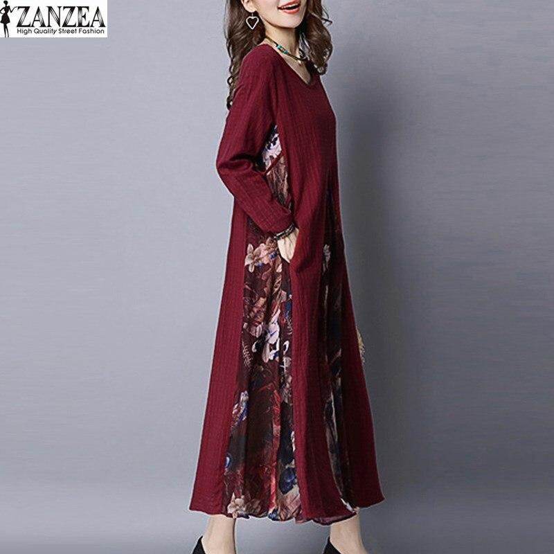 Zanzea 2017 mujeres retras de gran tamaño floral hem splice kaftan de manga larga con cuello redondo flojo ocasional party dress pluse tamaño