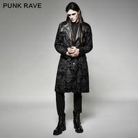 Панк рейв мужские куртки и пальто рок Streampunk Готический великолепный узор Мужская длинная куртка пальто Сценический костюм