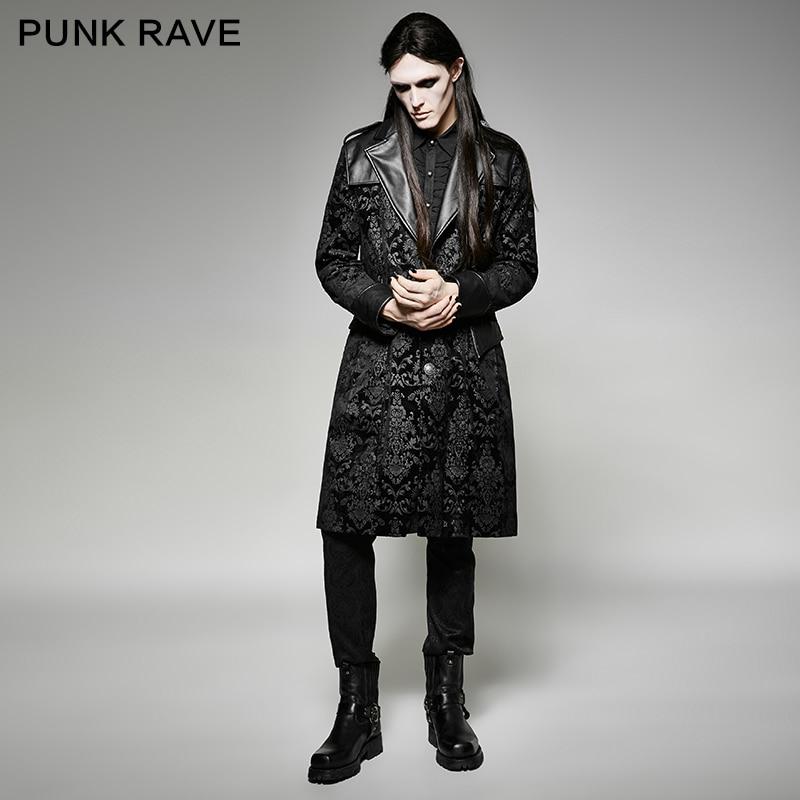 Punk Rave hommes vestes et manteaux Rock banderpunk gothique magnifique motif hommes longue veste manteau scène Performance Costume