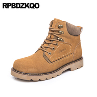 genuine leather autumn boots italian work suede Men's shoes british style safety footwear luxury working booties yellow designer