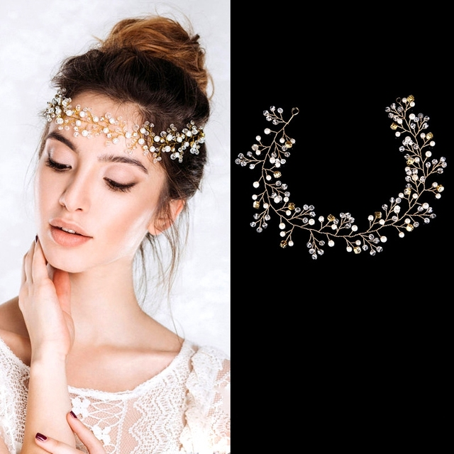 100% authentique liquidation à chaud acheter maintenant US $14.33  Fascia delle donne fatti a mano ornamenti per capelli gioielli  di perle matrimonio decorazione di cristallo Regali di Festival festa di ...