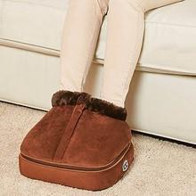 2 IN 1 elektrikli ısıtmalı ayak ısıtıcı masaj ayakkabı rahat Unisex kadife ayak ısıtmalı ayak ısıtıcı bel masajı geri büyük terlik sıcak