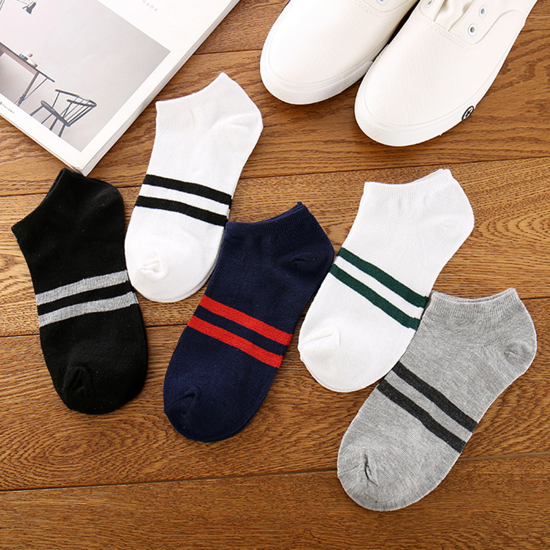 Men's Socks Cotton Striped Boat Socks Casual Harajuku Breathable Seasons Fashion Joker Funny Socks Good Looking Beautiful Socks