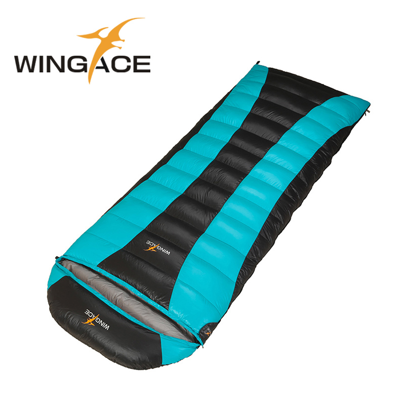 WINGACE Fill 2500G Duck Down Winter Sleeping Bag For Adults Thick Waterproof Tourism Outdoor Camping Envelope Sleeping Bag wingace envelope double sleeping bags fill 2500g 95