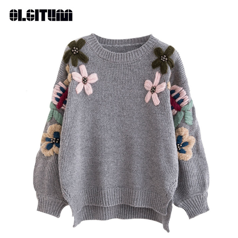 Pullovers Hot Selling Newest Lantern Sleeve Head Sweater Female 2019 Korean Loose Embroidery Student Knitted Embroidery Jacket Sweaters