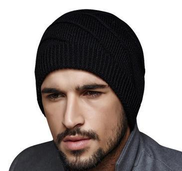 Versión coreana de la simple de los hombres de sombrero de invierno de punto sombreros de Verificación doble más gruesa de lana caliente sombrero Huerbaotou sombrero