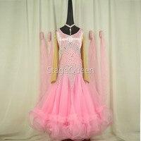 Pink rhinestones Ballroom dance competition dress standard dresses modern dance costume ballroom waltz dress luminous costumes