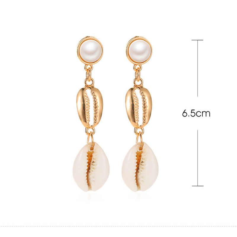 Fashion Imitation Pearls Drop Earring for Women Metal Shell Ladies Dangle Earrings Ear Jewellery Accessories Gift brincos