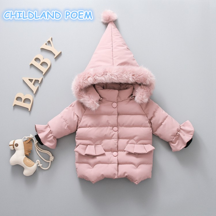 Winter Baby Girls Outerwear Warm Cotton Hooded Children Toddler Baby Girls Jacket Coat Faux Fur Collar Baby Clothes Parkas 1-5Y 2017 80 s winter jacket women wadded jacket female outerwear winter hooded coat cotton padded fur collar parkas plus size m 4xl