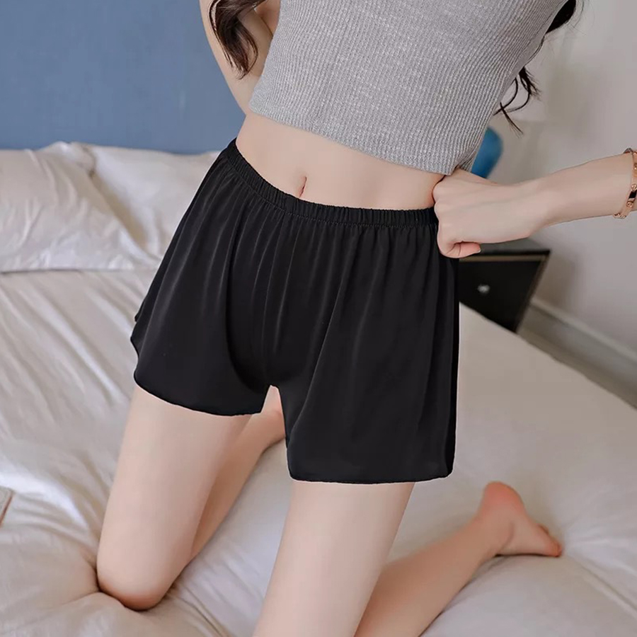 Summer Plus Size Short Sleep Bottoms Women Safety Short Leggings Sexy Loose Outwear Hot Pants Black White Skin Home Nightgown 4