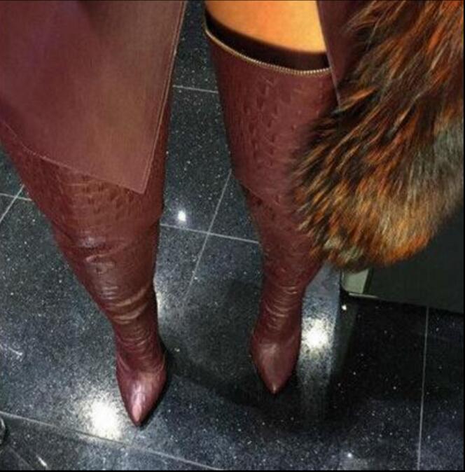 Fashion Burgundy /Black PU Thigh High Boots Women Stiletto Over-the-Knee Boots Zip Martin Boots Feminine Shoes Women ppnu woman winter nubuck genuine leather over the knee snow boots women fashion womens suede thigh high boots ladies shoes flats