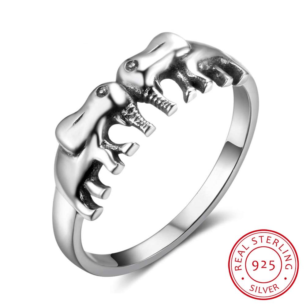 Sólido 925 anillos de plata esterlina doble elefantes Vintage anillos para las mujeres joyería de plata regalo 2017 Nuevo (RI102781)