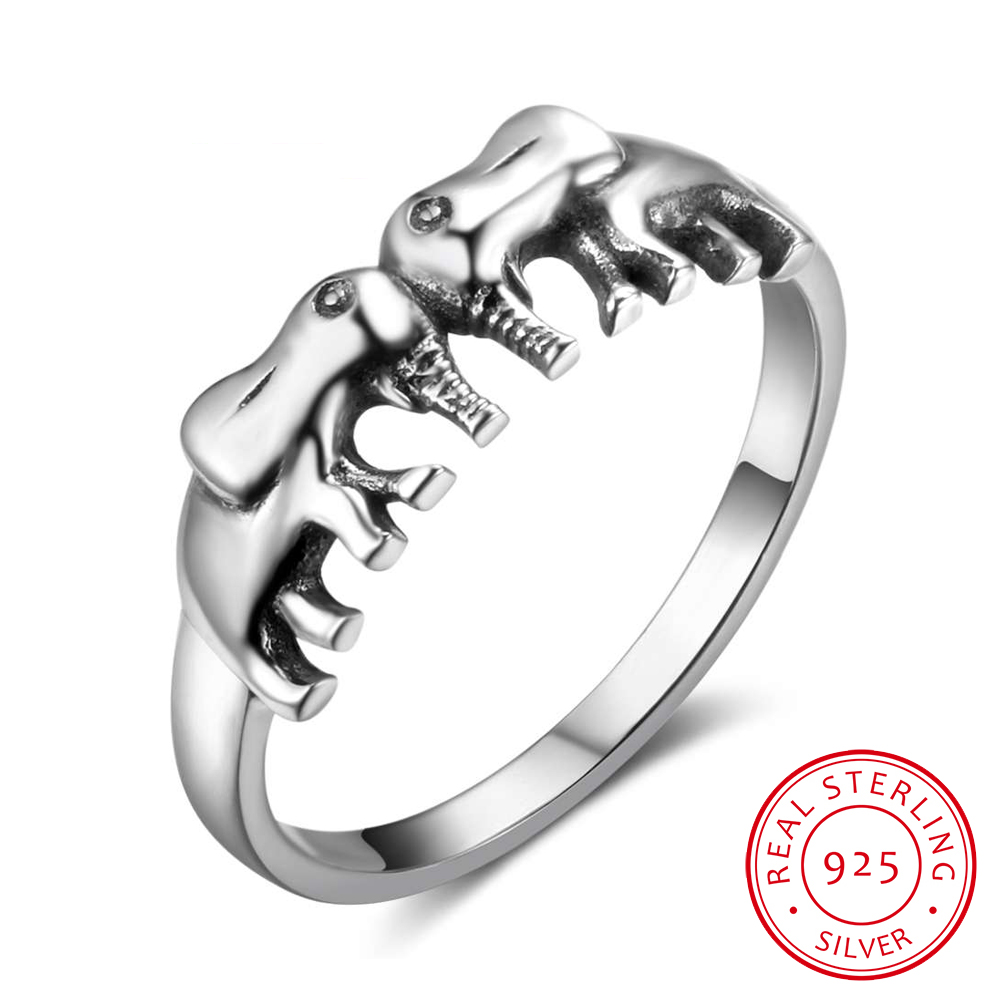 Solid 925 Sterling Silver Rings Double Elephants Vintage Rings For Women Silver Jewelry Gift 2017 New (RI102781)