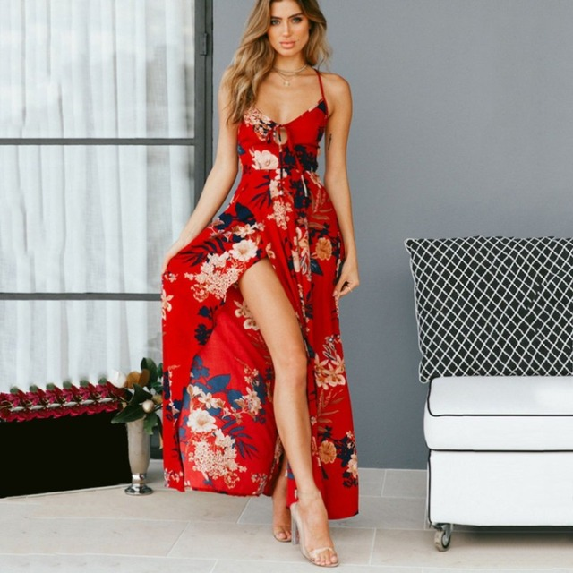 b402716930ef Sundress Girl Red Floral Print Sexy Lace Up V Neck women maxi dresses  summer split Backless beach long vestidos Boho dress &2