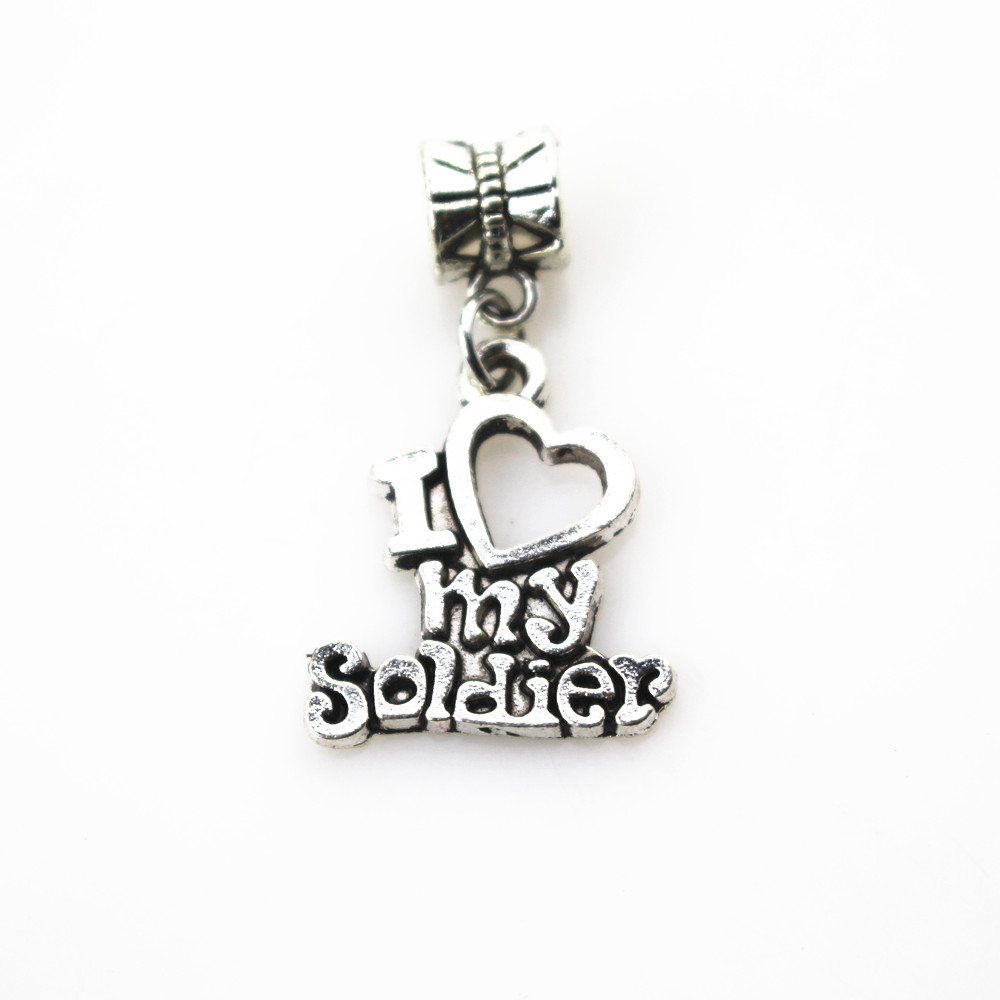 Hanging charms 20pcs lot I love my solider charms big hole pendant beads fit women font