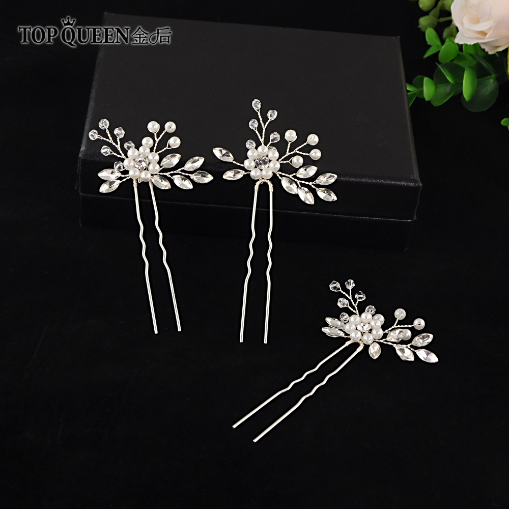 TOPQUEEN HP57 Beads Flower Hair Pins Bridal Headdress Gold And Silver Crystal Bridal Elegant Headwear Accessories  Fast Shipping