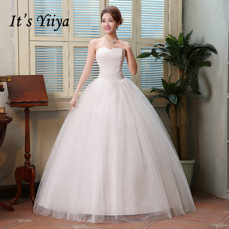 It's YiiYa Wedding Dress Bridal Sexy Strapless Princess Ball Gowns White Sleeveless Lace Up Long Simple wedding dresses HS121