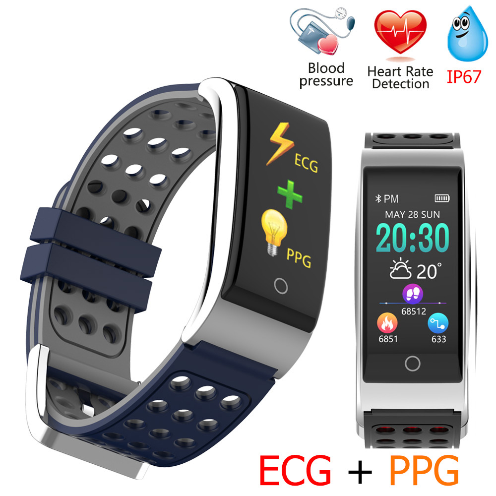 E08 Smart Bracelet Fitness Tracker Smart Wristband Heart Rate Monitor ECG/PPG Blood Pressure Smart Watch For IOS Android Phone