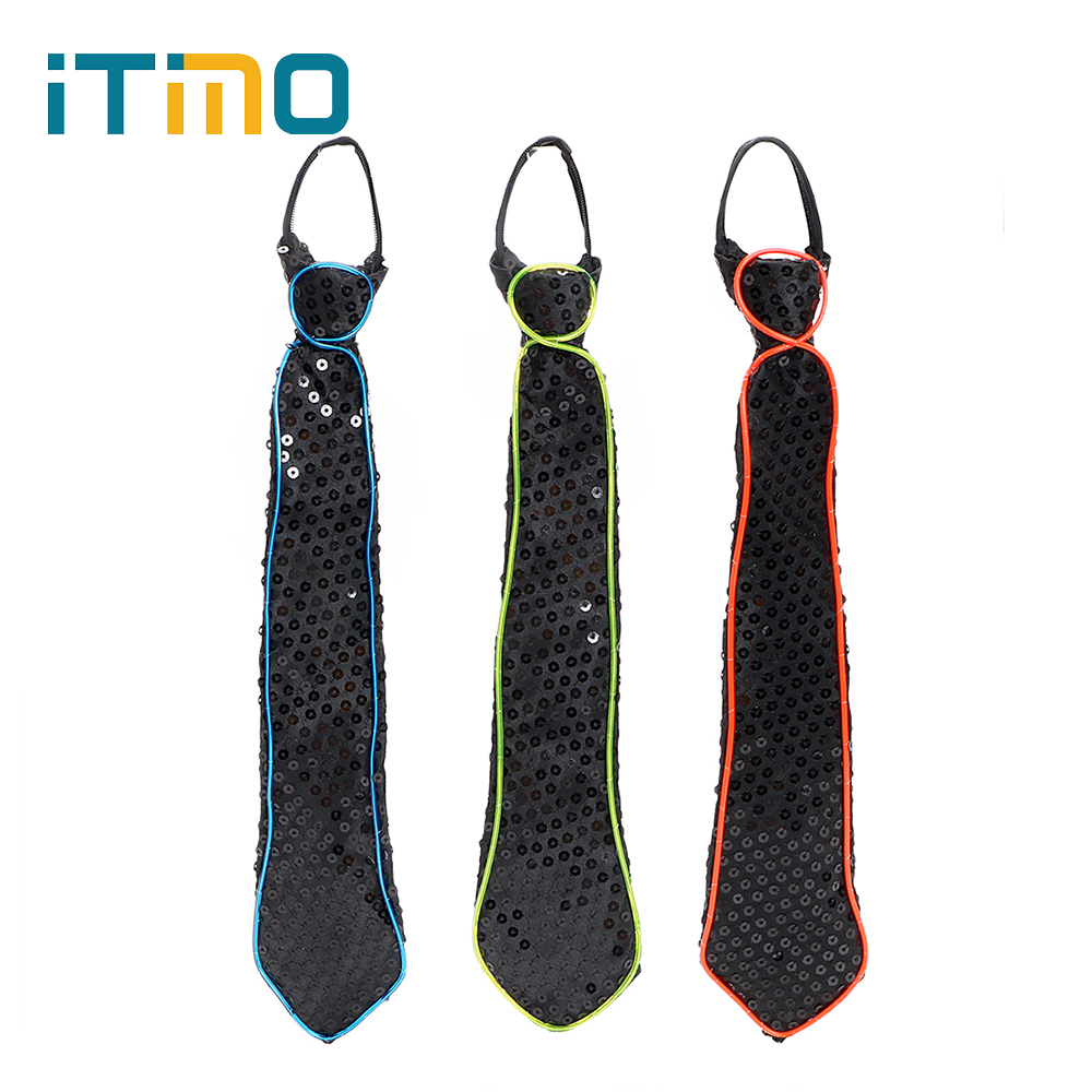 ITimo LED Lamp Carnival Luminous Necktie Christmas Club Cosplay Noctilucent Lamp Party Dressing Bar Show Novelty Tie