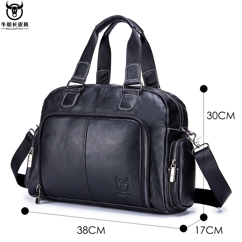 Leather Laptop Bag Men Leather Genuine Briefcase Zipper Solid Business Multiple Pocket Office Bags Men Bandolera Hombre New 2019