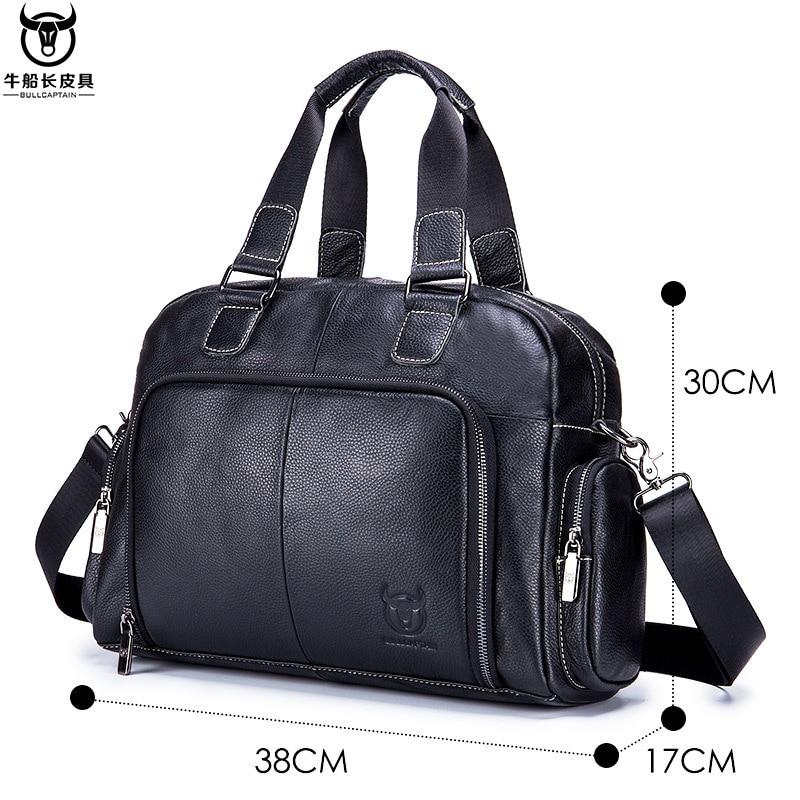 Leather Laptop Bag Men Leather Genuine Briefcase Zipper Solid Business Multiple Pocket Office Bags Men Bandolera Hombre New 2019