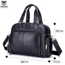 Leather Laptop Bag Men Leather Genuine Briefcase Zipper Solid Business Multiple Pocket Office Bags Men Bandolera Hombre New 2019 career men s briefcase with solid color and zipper design