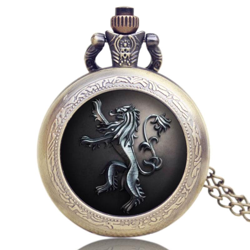 Game Of Thrones Lannister House Hear Me Roar Quartz Pocket Watch Vintage Pendant Chain For Men Women Bronze  Relogio De Bolso