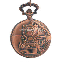 Pocket Watch with Chain Railroad Embossed Arabic Numerals Full Hunter Steampunk Design Reloj De Bolsillo