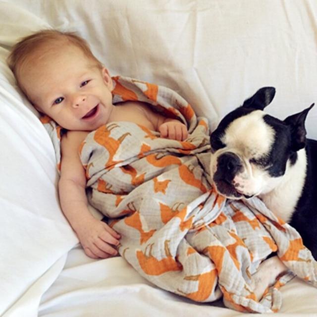 Детское Постельное Белье Кроватки Органического Хлопка Муслин Одеяло Пеленать