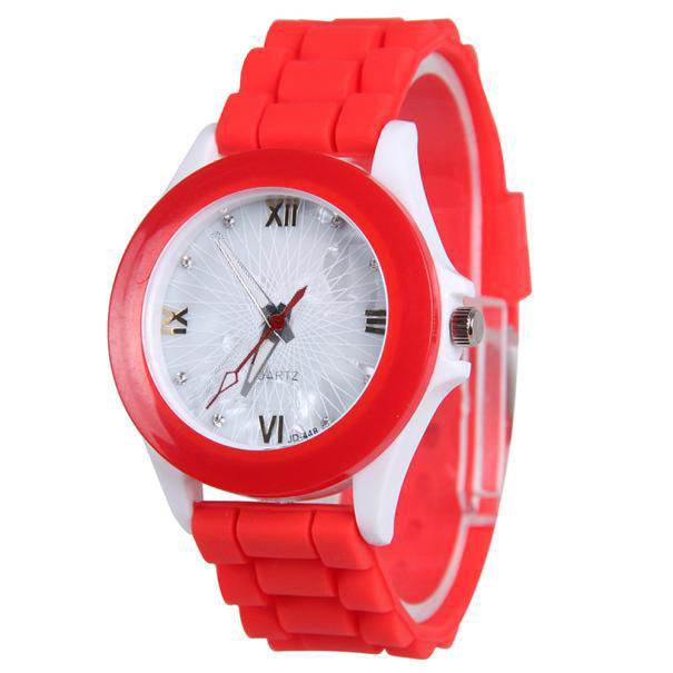 reloj mujer Silicone jelly strap Casual Sports Wrist Watch Rubber Jelly Gel Quar