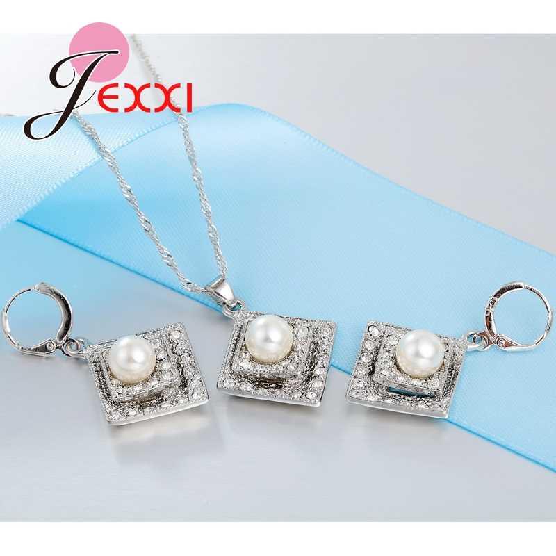 Mode 925 Sterling Silber Kette Zirkonia mit Perle Quadrat Anhänger Halskette Ohrringe Schmuck Sets Bijoux