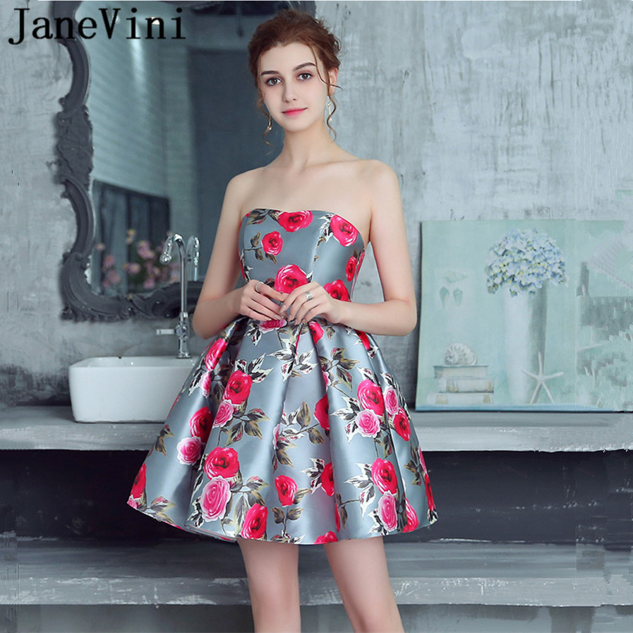 JaneVini Floral Print Short   Bridesmaid     Dresses   2018 A Line Strapless Satin Zipper Back Charming Girls Homecoming Gowns Plus Size