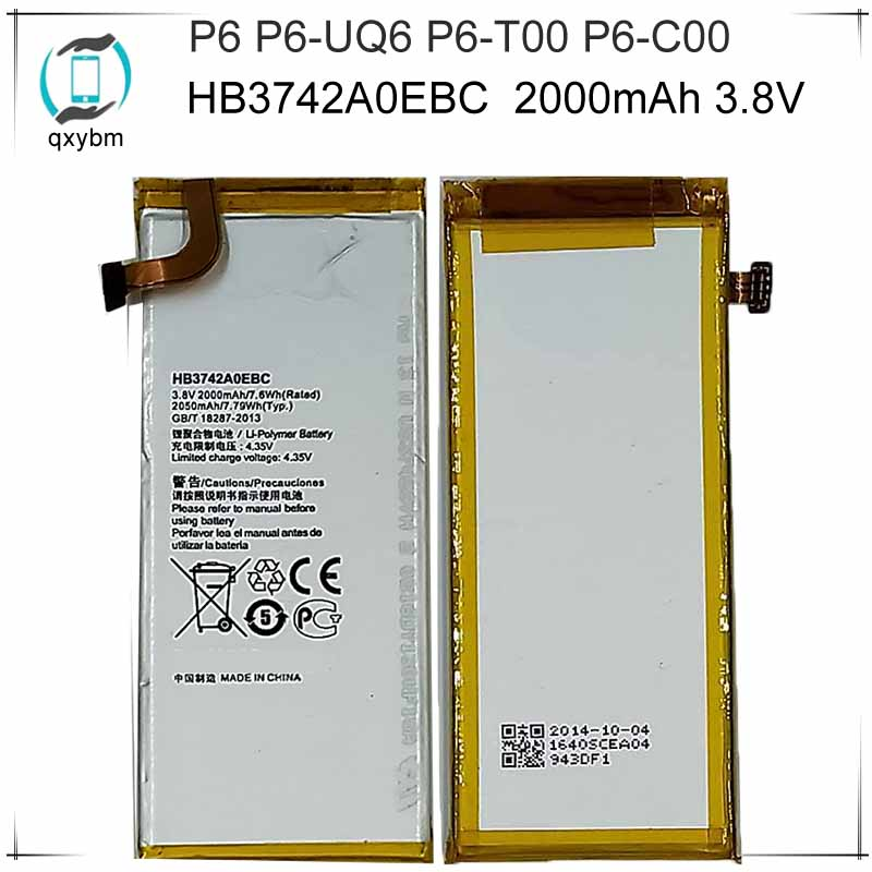 For Hua Wei Replacement Phone Battery 2000mAh HB3742A0EBC For Huawei P6 G6 G621 TL00 G620 C8817D H30 C00