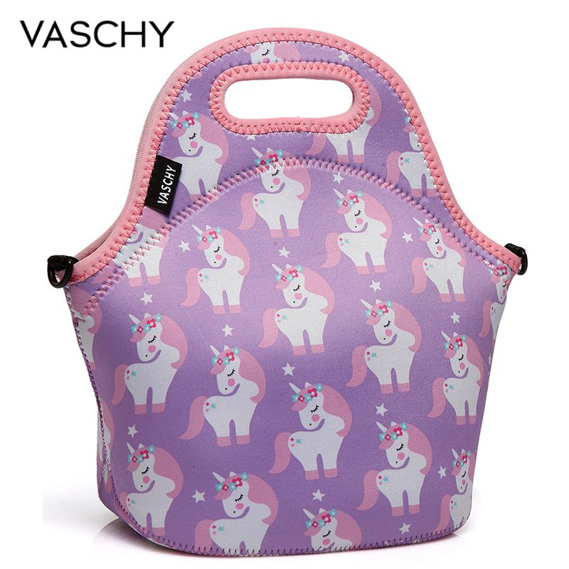 VASCHY Pink Unicorn Neoprene Insulated Lunch Bag For Women Unique Water Resistant Lunch Box For Work School Flamingos Dinosaur