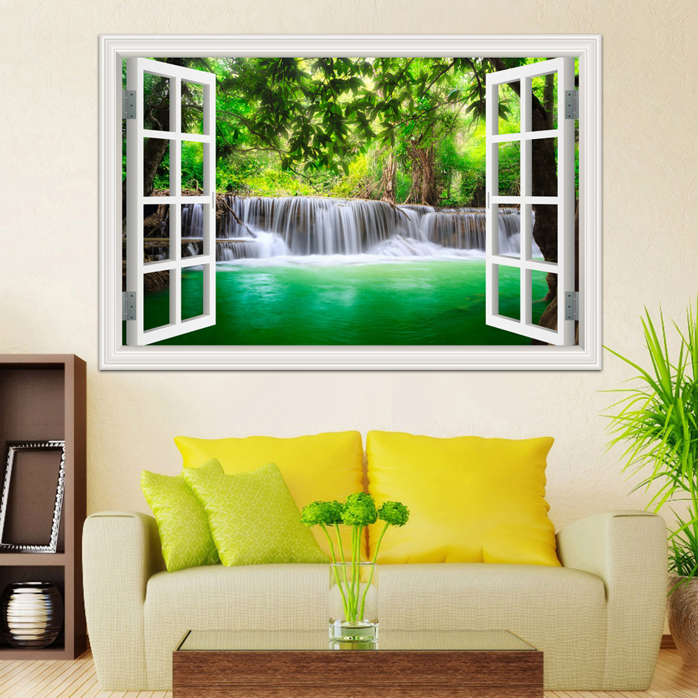 3d New Wall Sticker Decal Waterfall Window View Wallpaper Nature Landscape Decals For Living Room Home Decor Art