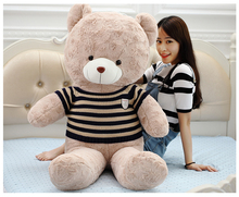 big plush round eyes bule and white stripes sweater teddy bear toy huge bear doll gift about 160cm