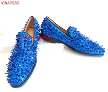 Vinapobo Blue Spikes Rivet Shoes Rhinestones Glitter Men Loafers Smoking Slipper Slip On Casual Shoes Wedding Dress Men's Flats недорого