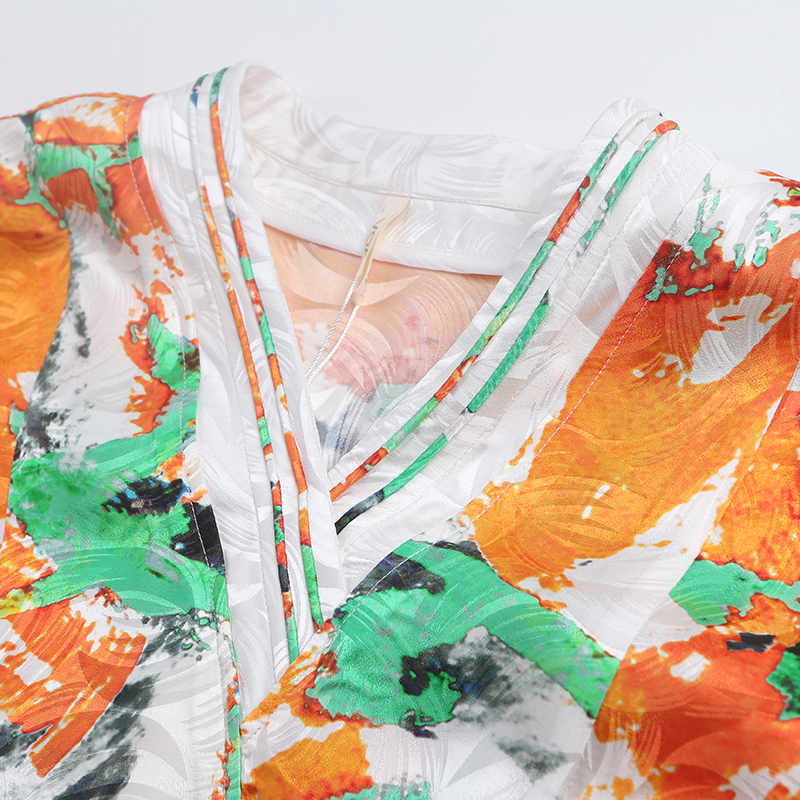 VOA 2019 Musim Panas Mode Sutra Kimono Pencetakan Lengan Pendek Tee - Pakaian Wanita - Foto 5