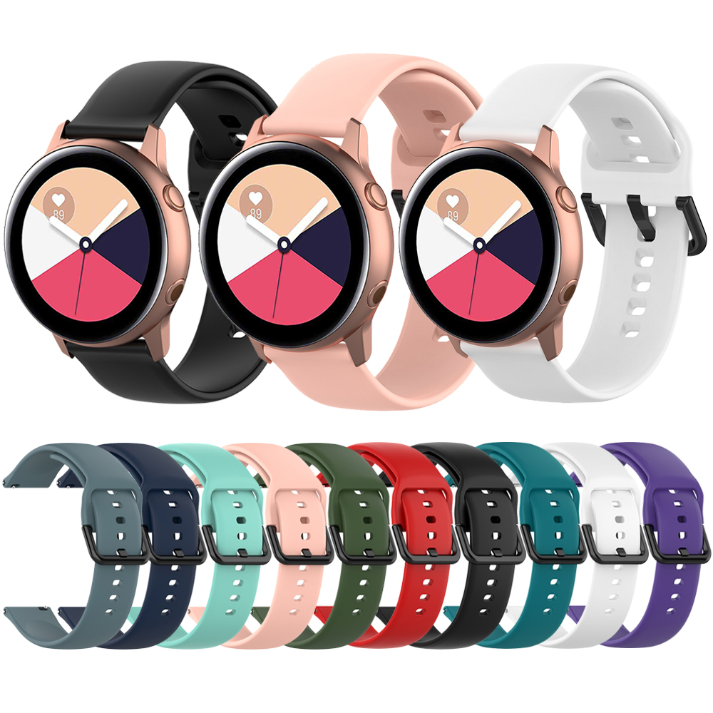 20mm Replacement Watchband For Samsung Galaxy Watch Active 42mm Gear S2 R810 R500 Soft Silicone Wrist Strap Belt Band Wristband
