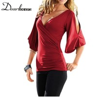 Dear Lovers Casual Style T Shirt Women Black V Neck Slit Half Sleeve Cold Shoulder Tops