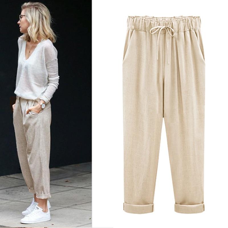 M-6XL Plus Size Women Pants Linen Cotton Casual Harem Pants Candy Color Harajuku Green Trousers Female Ankle-length Length Pants